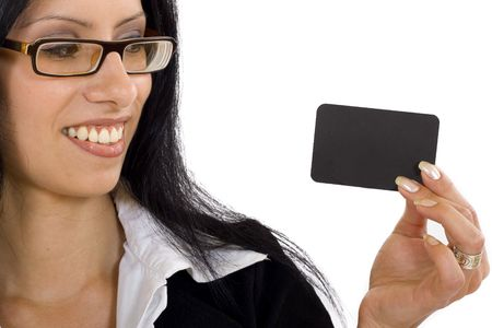 close up of an attractive businesswoman holding a blank card photo