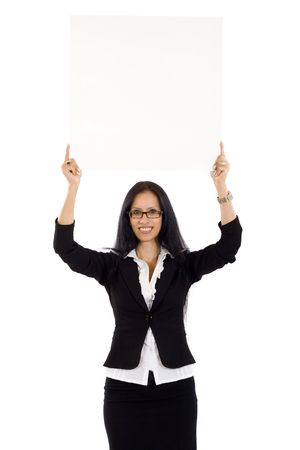attractive businesswoman holding a blank board over her head photo