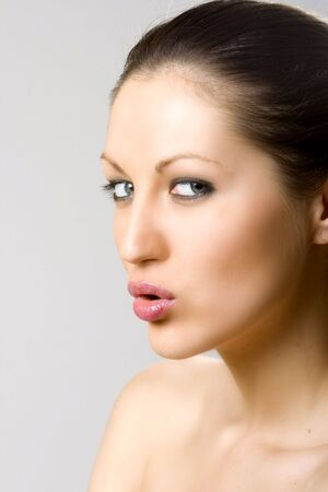 closeup of a woman's face - lips photo