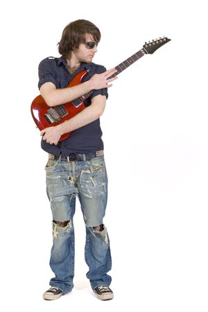picture of a guitarist embracing his electric guitar guitar photo