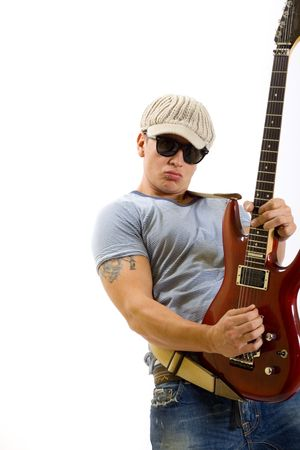 man playing guitar: Portrait of young crazy guy playing electric guitar - isolated