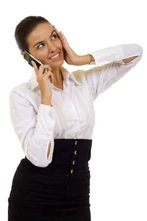 worried attractive businesswoman with mobile phone over white background Stock Photo - 5641329