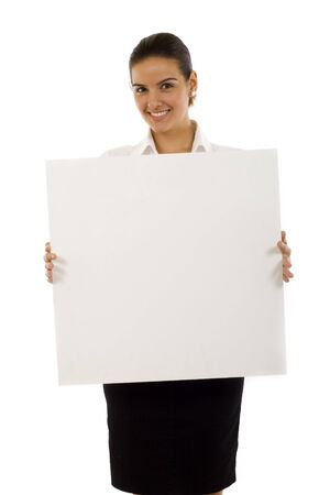 Beautiful businesswoman showing empty white board Stock Photo - 5641326