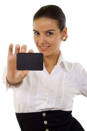 Attractive Businesswoman Closeup - presenting her business card Stock Photo - 5641191