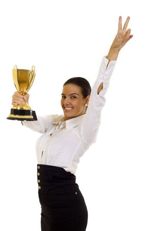 A young pretty business woman with trophy award photo