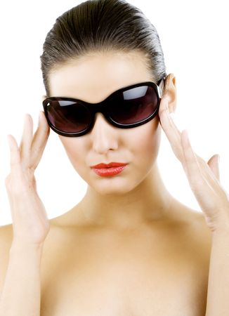 glamour portrait of beautiful young woman in big black fashion sunglasses Stock Photo - 5641285