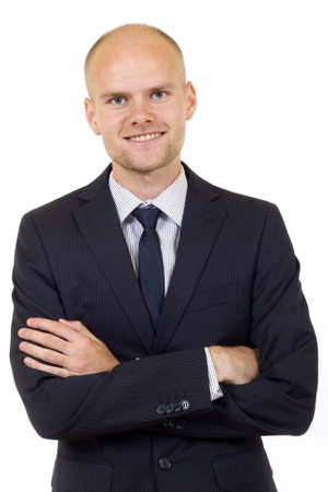 Portrait of a happy and cheerful businessman with arms crossed against white background Stock Photo - 5675989