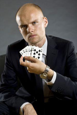 best hand: El jugador de p�quer que muestran una mejor mano en el p�quer - Royal Flush