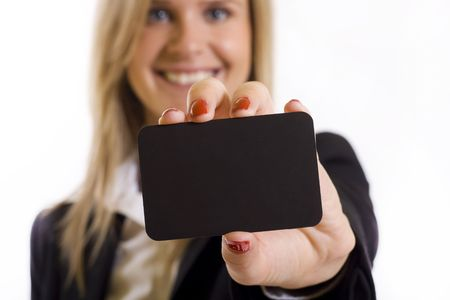 Beautiful businesswoman with a blank card. Place for your ad. photo