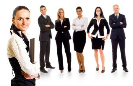 Business team with a businesswoman leader holding a folder