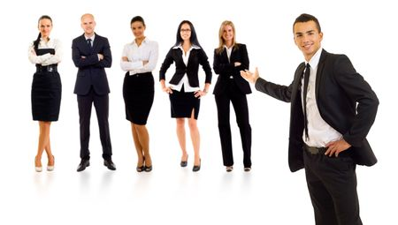 businessteamwork: businessman presenting his team isolated over a white background
