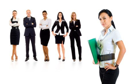 businessteamwork: businessteam with a businesswoman leading it - isolated over a white background