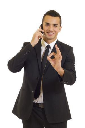 businessman on the phone aproving the good news
