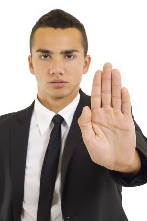 perky: businessman gesturing stop focus on hand over white  Stock Photo