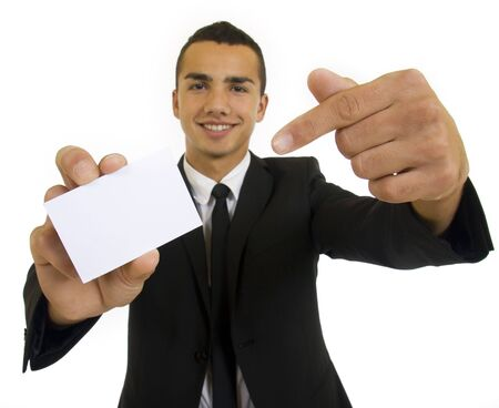 Businessman is showing blank card with copy space photo