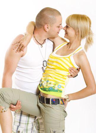 bacio sexy: immagine di un paio di glamour Embracing su sfondo bianco  Archivio Fotografico