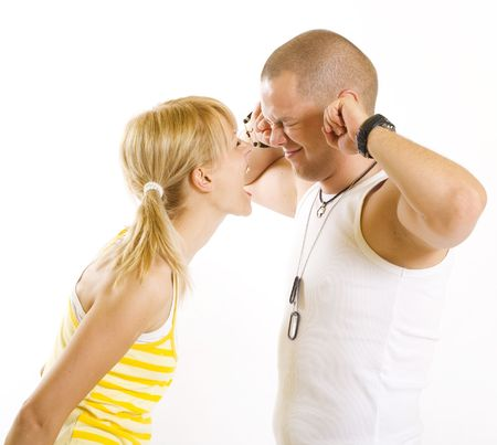 picture of a blonde woman shouting and screaming at her boyfriend photo
