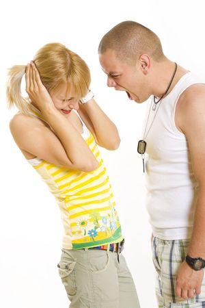 violencia domestica: Foto de un hombre joven gritando en el �xito de la novia en blanco
