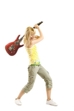 woman guitarist trying to  break her electric guitar Stock Photo - 5889714