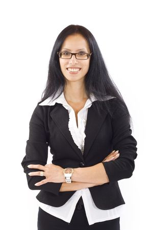 Young happy businesswoman isolated over white background Stock Photo - 5889680
