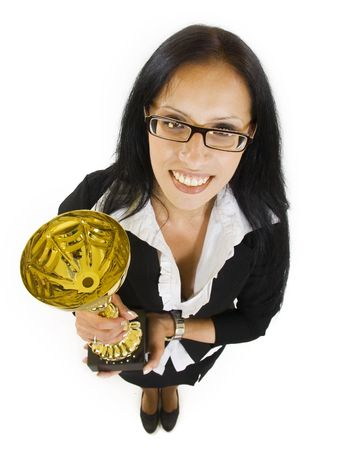 wide angle picture of an attractive businesswoman winning a cold cup Stock Photo - 5889684