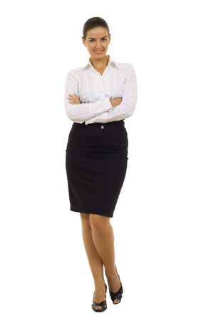 Portrait of a young confident business woman on white background Stock Photo - 5941322