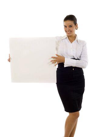 Beautiful business woman showing empty white board Stock Photo - 5941392
