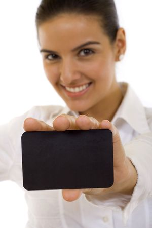 Attractive Businesswoman Closeup - presenting her business card Stock Photo - 5941332