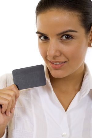 Beautiful businesswoman with a blank card. Place for your ad. Stock Photo - 5941397