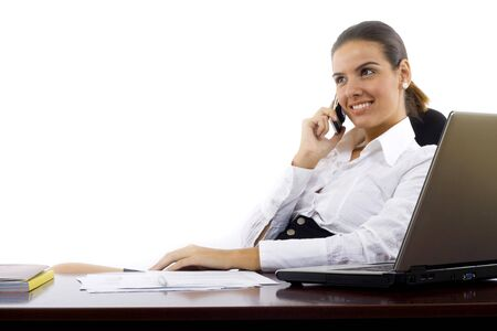 Happy woman calling on phone at home office. Stock Photo - 5941347
