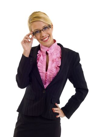 picture of a Businesswoman Wearing Glasses and holding them Stock Photo - 6049036