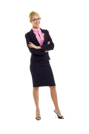 picture of a blond businesswoman with glasses over white Stock Photo - 6049088