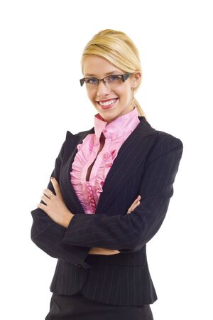 Portrait of a young attractive business woman over white Stock Photo - 6049042