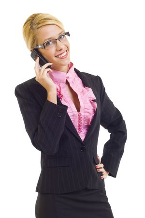 picture of a Beautiful Woman with glasses on Phone Stock Photo - 6049086