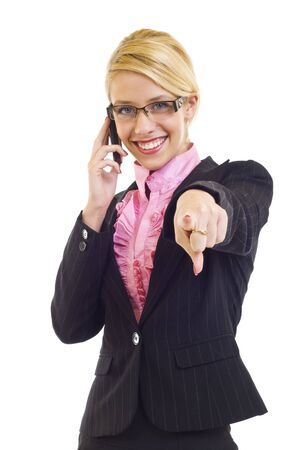 portrait of young beautiful woman on mobile phone poiting to you Stock Photo - 6049107