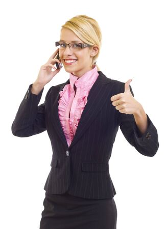 attractive businesswoman on the phone making her ok sign Stock Photo - 6049095