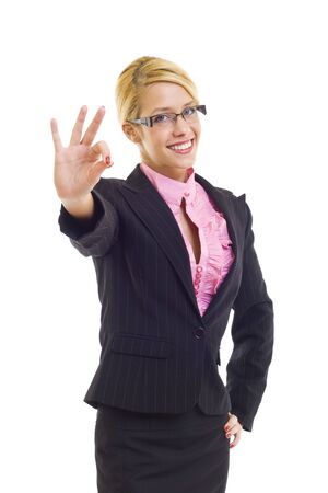 Attractive businesswoman satisfied with results - ok sign Stock Photo - 6049063