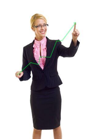 La empresaria joven dibujo una tabla de crecimiento con los dedos �ndice, aisladas sobre fondo blanco Foto de archivo - 6049071