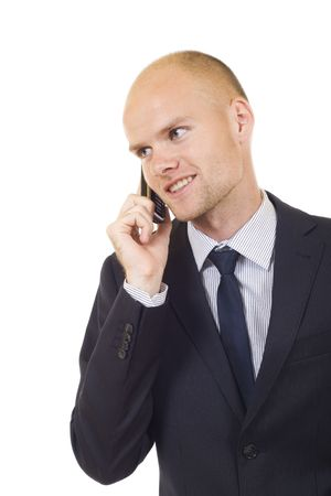 picture of a young Businessman on Phone over white photo