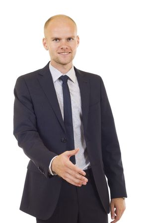 Young successful businessman waiting for handshake, isolated on white Stock Photo - 6049085
