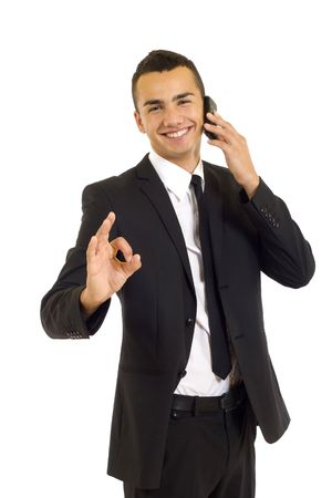businessman on the phone approving the good news Stock Photo - 6185070