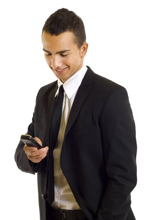 celphone: Business man texting a message on his phone isolated