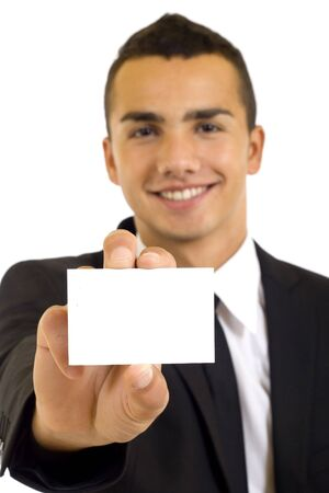 Business man handing a blank business card over white background Stock Photo - 6185055