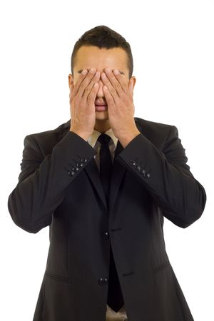 businessman making the see no evil gesture over white photo