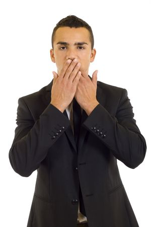 businessman making the speak no evil gesture over white photo