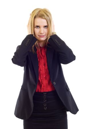 businesswoman in the Hear No Evil pose over white photo