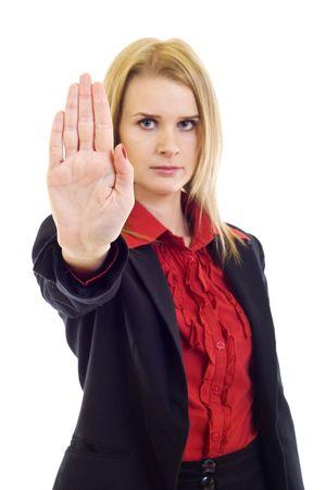 signalering: Blonde vrouw in bedrijfs kleding met de hand up signalering STOP Stockfoto