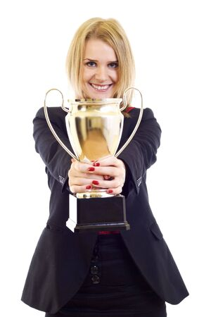 picture of an attractive businesswoman winning a trophy over white photo