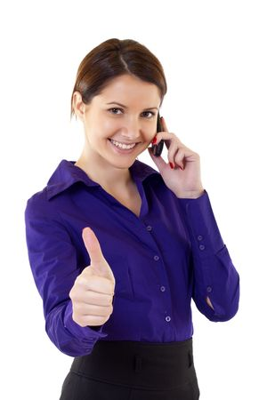 Businesswoman talking by cell phone and making OK sign Stock Photo - 6344445