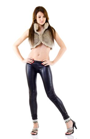 sexy woman wearing high heels shoes , leather pants and fur jacket Stock Photo